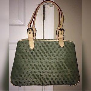 Dooney & Burke Green Logo Buckle Shoulder Handbag